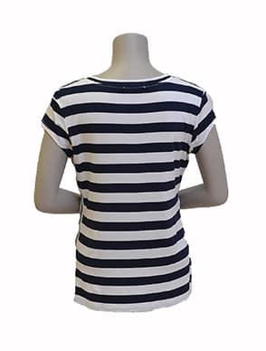 Gemma Ricceri Shirt Streep Blauw Wit Bies Streep Glitter Achterkant