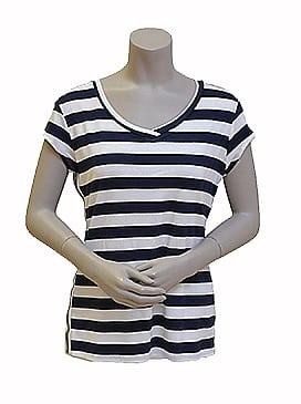Gemma Ricceri Shirt Streep Blauw Wit Bies Streep Glitter Voorkant
