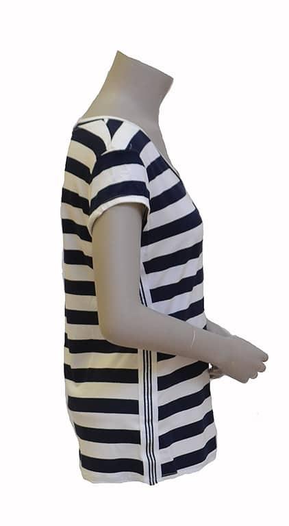 Gemma Ricceri Shirt Streep Blauw Wit Bies Streep Glitter Zijkant