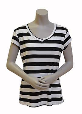 Gemma Ricceri Shirt Streep Zwart Wit Bies Streep Glitter Voorkant
