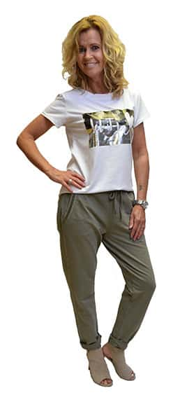Gemma Ricceri Shirt Let It Be Legerprint Wit Groen Zijkant