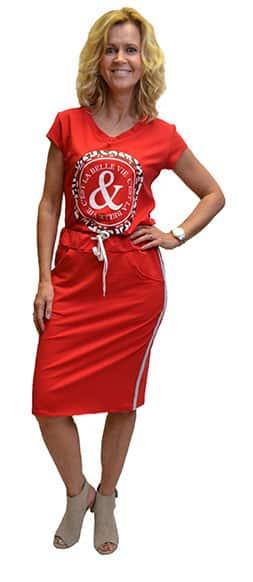Gemma Ricceri Shirt Print La Belle Vie Rood Voorkant