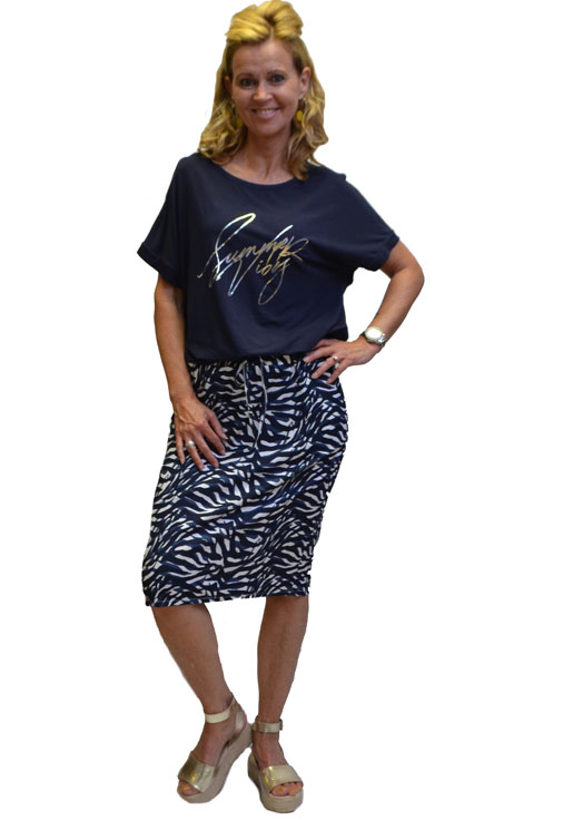 Gemma Ricceri Shirt Donkerblauw Opdruk Voorkant