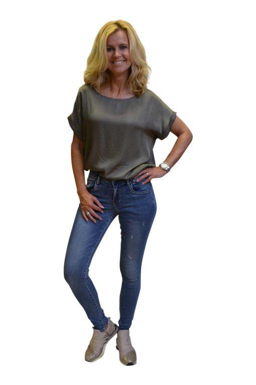 Toxik Lichte Jeans Destroyed Vlekken Ria Voorkant
