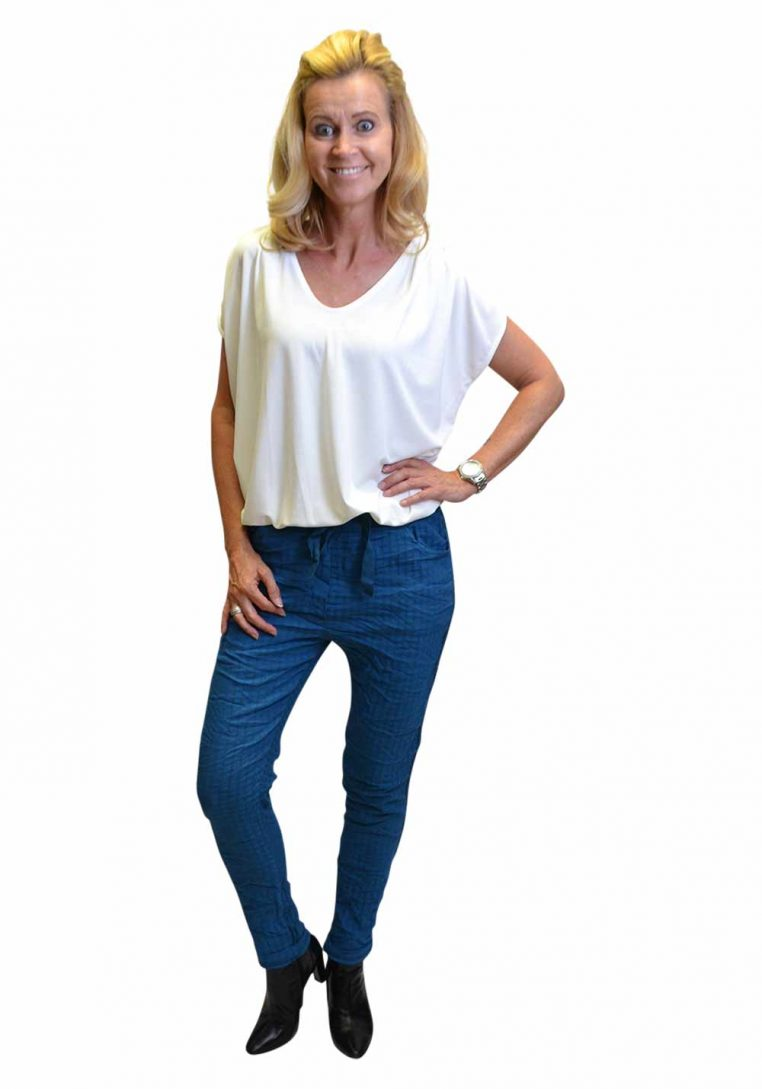 Gemma Ricceri Blanca Geruite Broek Turquoise & Shirt