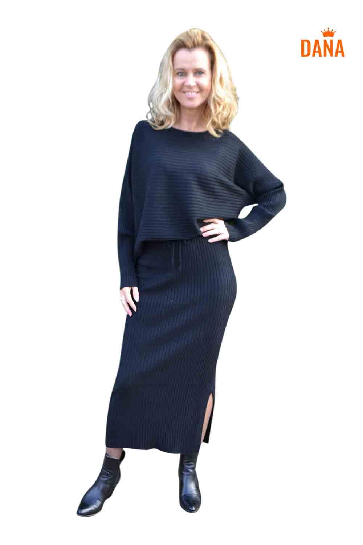 Just Dai Set Sweater Rok Loraine Zwart