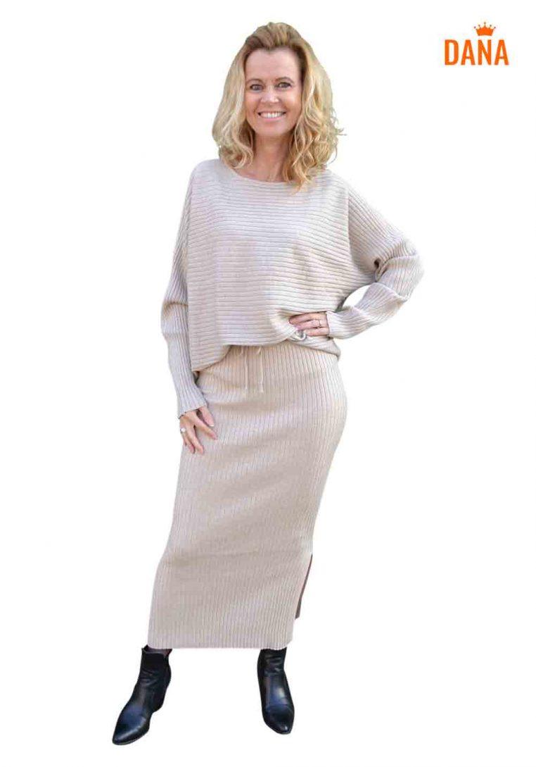 Just Dai Set Sweater Rok Marise Beige