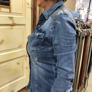 Store3 Jeansblauwe Blouse Trendy Dameskleding