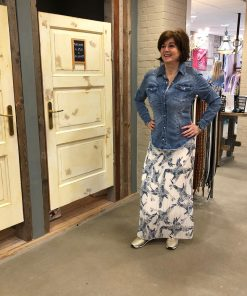 Store3 Jeansblauwe Blouse Rok One Size Bloemenprint Ecru BlauwTrendy Dameskleding