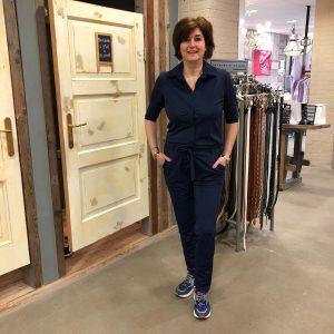 Vera Jo Blauwe Jumpsuit Roxane van Travelstof