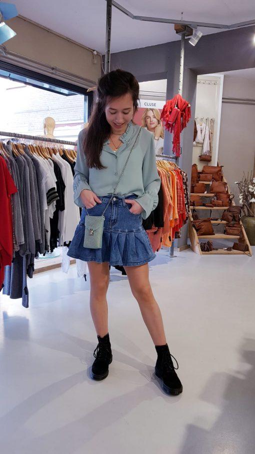 Rok Jeansblauw Mint Groen Blouse Trendy Betaalbaar Dameskleding Store3 Mode & Accessoires