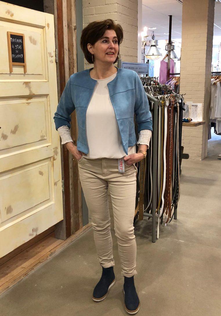 Store3 Suedine Jasje Yvet Lichtblauw Store3 Mode & Accessoires