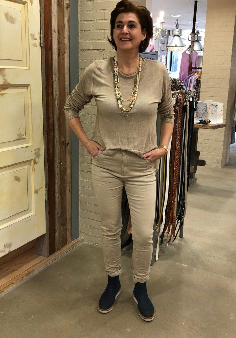 Store3 Linnen Shirt Lucille Met Voile & Knoopjes Beige Store3 Mode $ Accessoires