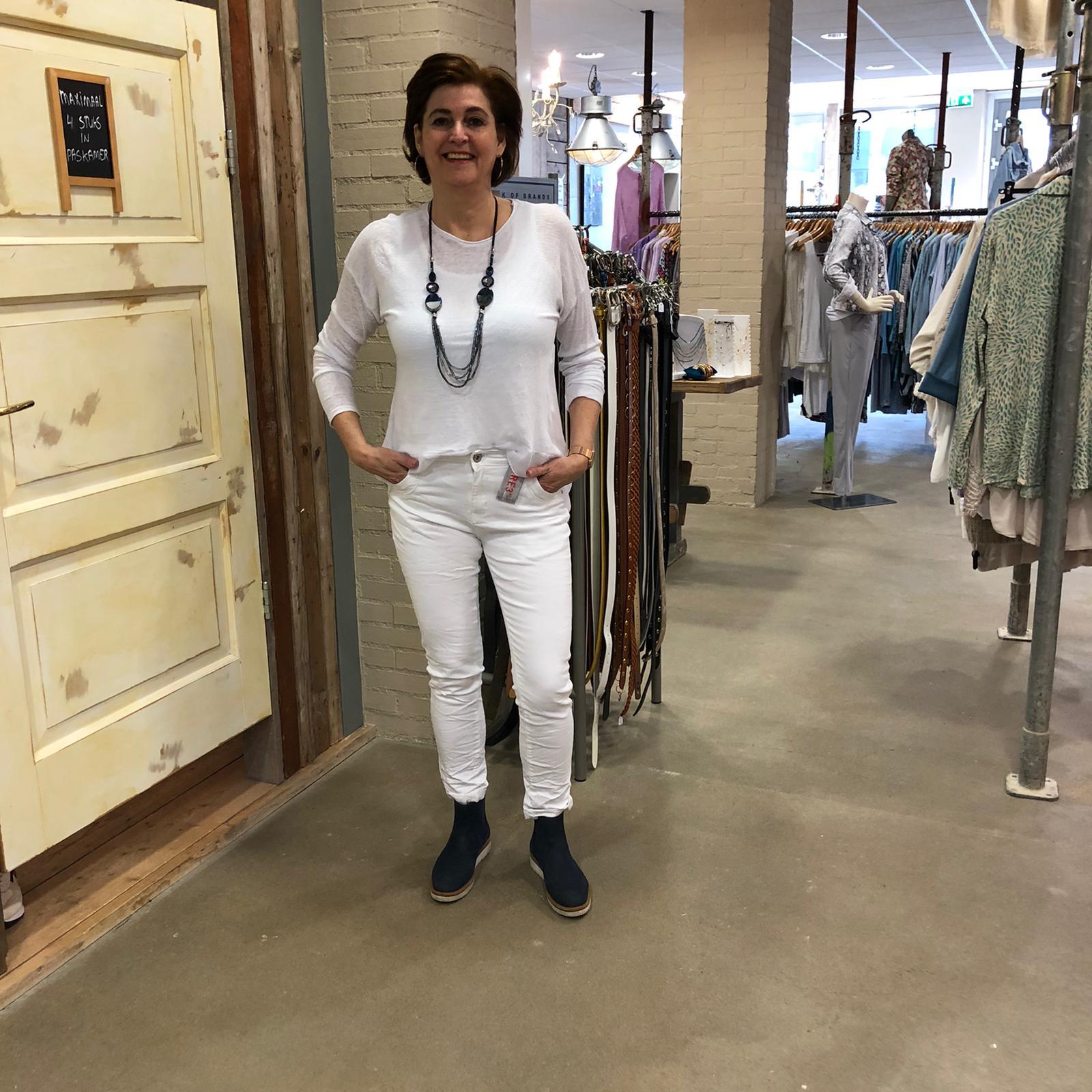 Store3 Linnen Shirt Colette Met Voile & Knoopjes Wit Store3 Mode & Accessoires