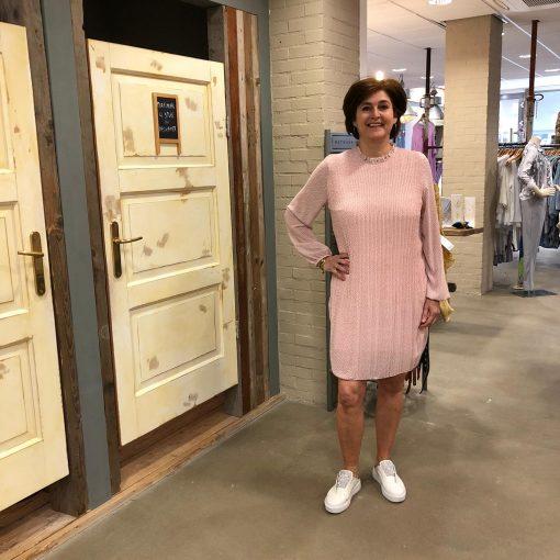Store3 Plisse Jurk Corinne Roze met Nopjes Store3 Mode & Accessoires