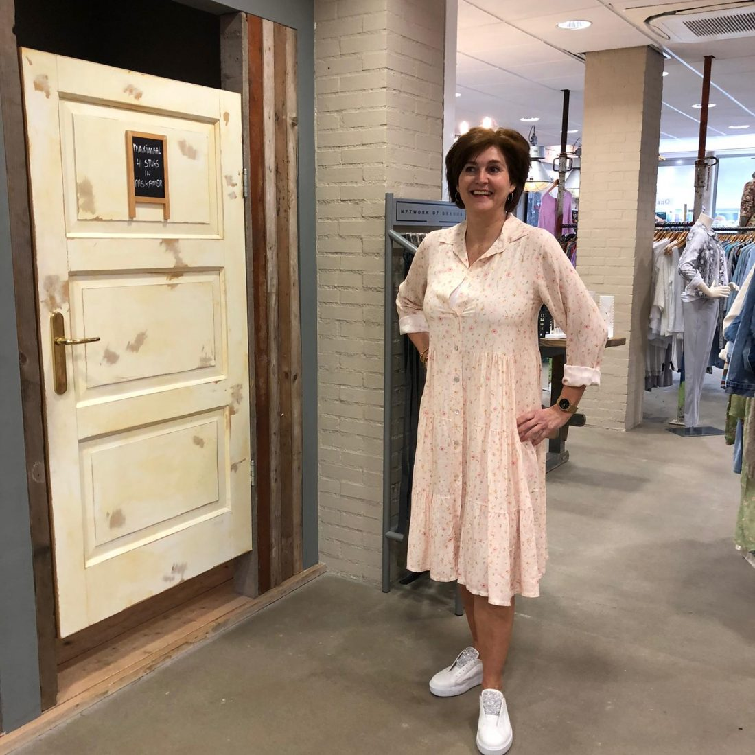 Store3 Jurk Josette Bloem Ecru Store3 Mode & Accessoires