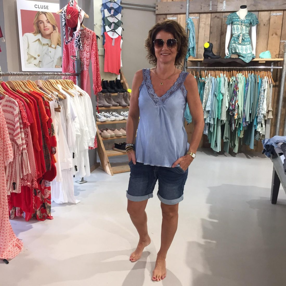 Kanten Top Rosaley Jeansblauw & Melly & Co Korte Jeans Aveline