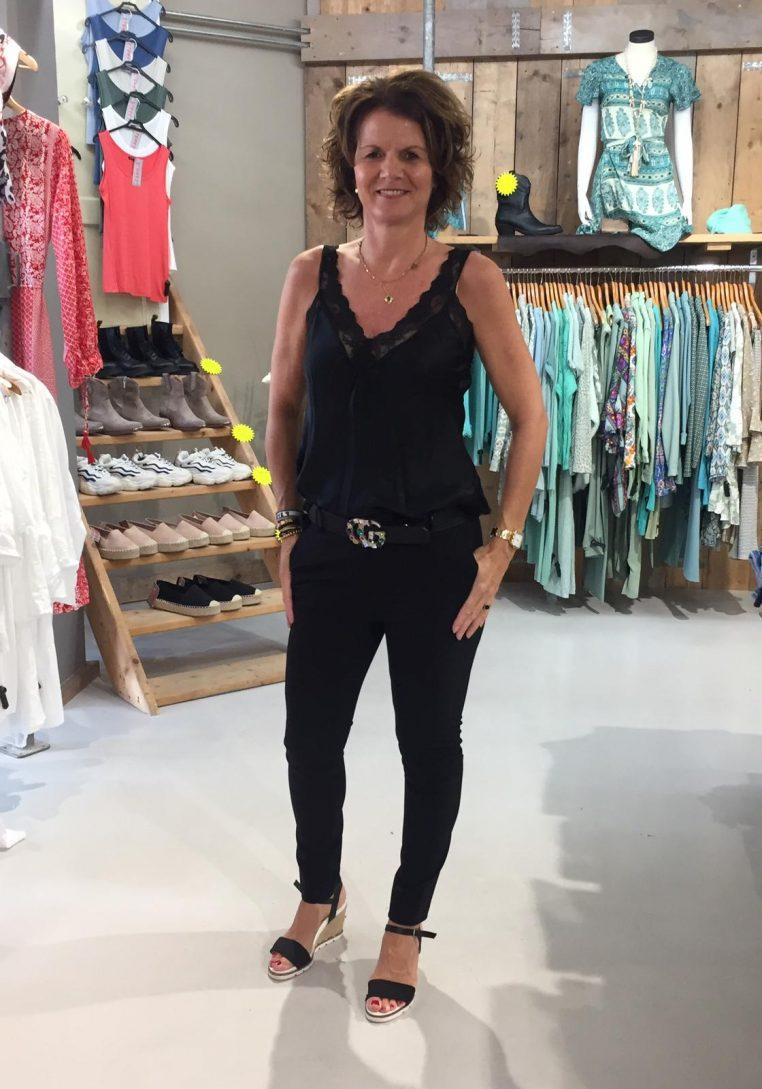 Kanten Top Lace Pamida Zwart & Gemma Ricceri Pantalon Benigna Zwart